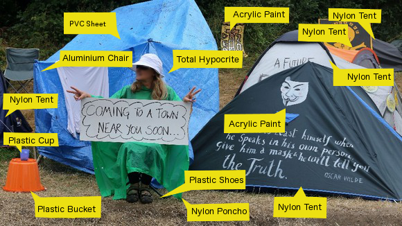 Because nothing says 'we hate fossil fuels' like nylon...